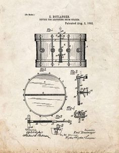 Snare Drum Patent Print Art Poster Old Look (8.5' x 11')