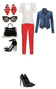 """""""in the red"""" by sf24 on Polyvore featuring Armani Jeans, IRO, Dolce&Gabbana, Yves Saint Laurent, Boohoo, LE3NO and Victoria Beckham"""