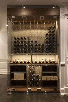 Modern custom glass surround reach in wine cellar designed and constructed by Papro Wine Cellars & Consulting Ltd.