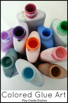 Twpe off D A D ,,let kids squirt glue around Play Create Explore: Colored Glue Art Creative Activities For Kids, Projects For Kids, Art Projects, Crafts For Kids, Arts And Crafts, Glue Art, Elmer's Glue, Homemade Art, Art Classroom