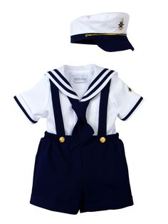 Spring Notion Baby Boys Sailor Set with Hat Small / 3-6M, Navy Blue
