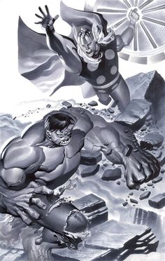 #Hulk #Fan #Art. (Hulk battles Thor) By: ChristopherStevens. [THANK U 4 PINNING!]