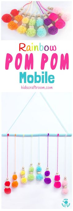 DIY RAINBOW POM POM MOBILE – brighten up your baby nursery, kids bedrooms or add a splash of colour to your living area with this cute and easy pom pom craft. A super way to use up yarn scraps. Pom Pom Crafts, Yarn Crafts, Diy Crafts, Homemade Crafts, Crafts To Make, Mobiles For Kids, Mobile Kids, Mobile Mobile, Homemade Mobile