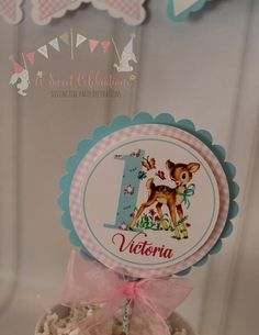 Woodlands Deer Vintage 1st  Birthday Cake Topper, Woodlands Deer Vintage Party Cake Topper, 2nd Birthday Cake Topper. 1st Birthday Party For Girls, First Birthday Cakes, Birthday Celebration, Girl Birthday, Vintage Party Decorations, 1st Birthday Decorations, Party Cakes, Special Day, First Birthdays