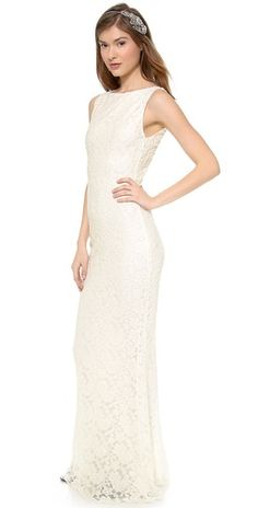 alice + olivia Sachi Open Back Gown   SHOPBOP  wedding dresses under $500