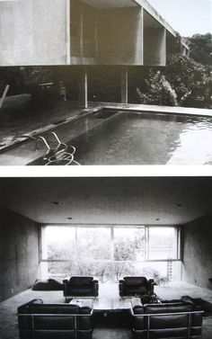 Vilanova Artigas, Domschke house, 1974 Sao Paulo. Pool. Raised living zone. Underhouse terrace.