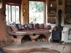 Cob House - Interior, windows, stove...