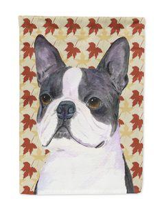 Boston Terrier Fall Leaves Portrait Flag Garden Size