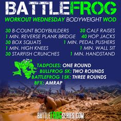 #BattleFrog #WorkoutWednesday #WOD. Our workouts are all doable from home, no equipment needed, and scalable. This workout is meant to challenge all athletic abilities, and is guaranteed to get you #BattleReady.