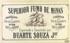 """Etiqueta da fabricante de fumo """"Superior Fumo de Minas"""", Rio de Janeiro, segunda metade do século XIX. Arquivo Nacional. Série Indústria e Comércio - Comércio - Junta e Tribunal etc. (IC3). BR_RJANRIO_9X_IC3 14_foto_0395"""