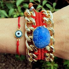 Set By Vila Veloni Red And Blue Druzy Stone Bracelets