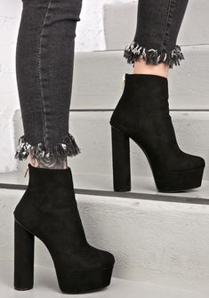 Cassiopeia Boots cuz you tower over the competition, bb. These gorgeous boots feature a smooth black vegan suede construction, tapered toe, ultra high block heel 'N platform, and back zip closure. High Heel Boots, Heeled Boots, Shoe Boots, High Heels, Shoes Heels, Platform Ankle Boots, Black Platform, Black Block Heel Shoes, Punk Boots