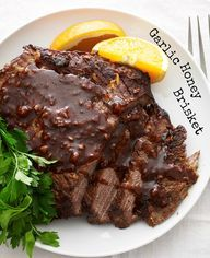 Garlic Honey Brisket is the best make ahead recipe!!