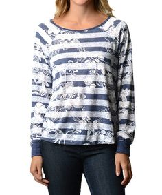Love this Navy Floral Stripe Scoop Neck Top - Women by Good Stuff Apparel on #zulily! #zulilyfinds