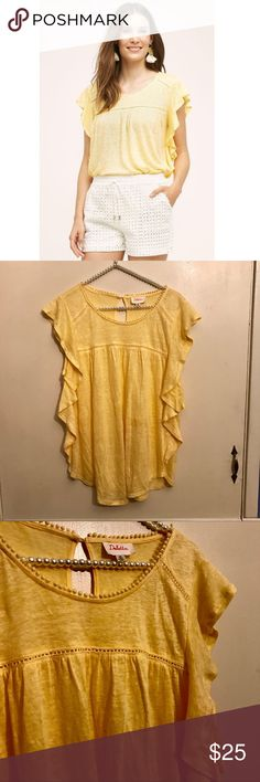 """Anthropologie Deletta Yellow Ina Flutter Tee Sz XS Perfect for your cruise this winter! Yellow Fluttered Ina top from Anthropologie brand Deletta. Soft slubbed linen and adorable trim details around the neck and a key hole in the back. Fluttering ruffles down the side. Excellent """"like new"""" condition. Size XS. 100% linen. Comes from a smoke and pet free home. Anthropologie Tops Tees - Short Sleeve"""