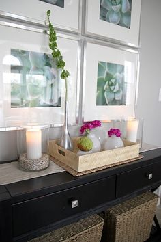 """Home Staging Hot List: """"Ah""""-worthy Entry Table House Tweaking, Decoration Entree, Diy Wall Art, Diy Art, Table Arrangements, Grey Walls, Home Staging, My Dream Home, Interior Inspiration"""