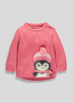 Girls Knitted Penguin Jumper (3mths-5yrs)