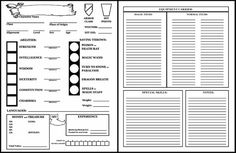 dungeons and dragons 1st edition character sheet - Google Search