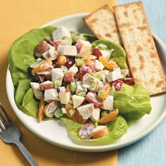 Harvest Chicken Salad = this is a great option for lunch! Only 135 calories per serving. You'll need: chicken, Gala apple, seedless grapes, dried apricots & cherries, celery and a red onion.