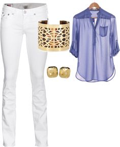 White jeans, blue blouse
