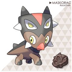 "Styrakade The Intimidation PokémonAbility: Intimidate Hidden Ability: Battle ArmorType: Rock/Dark Height: 4'03""Weight: 308.6 lbs. Evolution Maskorac evolves into..."