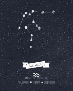 Aquarius Constellation Astrology Art Art Print by Angelina Perdomo Aquarius Constellation Tattoo, Aquarius Tattoo, Age Of Aquarius, Aquarius Zodiac, Aquarius Art, Signes Zodiac, Virgo Birthday, Le Zodiac, Zodiac Tattoos