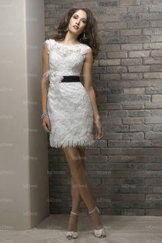 Sheath/Column Bateau Short/Mini Lace wedding dress - IZIDRESSES.com at IZIDRESSES.com
