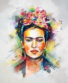 Affiche Art-Poster 50 x 70 cm Frida Kahlo by Tracie Andrews Canvas Artwork, Canvas Prints, Art Prints, Lino Prints, Block Prints, Frida Art, Frida Kahlo Artwork, Frida Kahlo T Shirt, Arte Pop