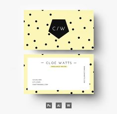 Colorful, editable  business card template with polka dots