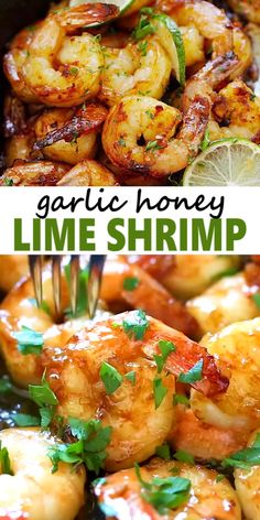 Garlic Honey Lime Shrimp - garlicky, sweet, sticky skillet shrimp with fresh lime. This recipe is so good and easy, takes only 15 mins to make. Lime Shrimp Recipes, Fish Recipes, Seafood Recipes, Vegetarian Recipes, Dinner Recipes, Cooking Recipes, Healthy Recipes, Seafood Appetizers, Spicy Shrimp
