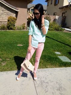 Pigtails and Pearls: What I Wore: Pretty Pastels