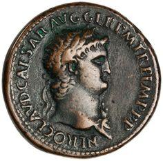 Bronze sestertius of Nero, Ostia, AD 54 - AD Ancient Roman Coins, Ancient Romans, Roman Empire, Silver Coins, Ancient History, Fountain Pen, Bronze, Stamp, Fountain Pens