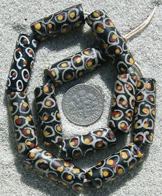 Trade Beads |  Venetian 'Fried Egg' Fancy Glass beads | They were made in the late 1800's to the early 1900's and used for the African Trade.