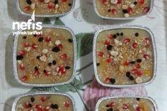 Ölçülü Tam Kararında Aşure 15-17 Kişilik Tarifi Turkish Recipes, Ethnic Recipes, Protein, Food And Drink, Pudding, Cookies, Breakfast, Sweet, Desserts