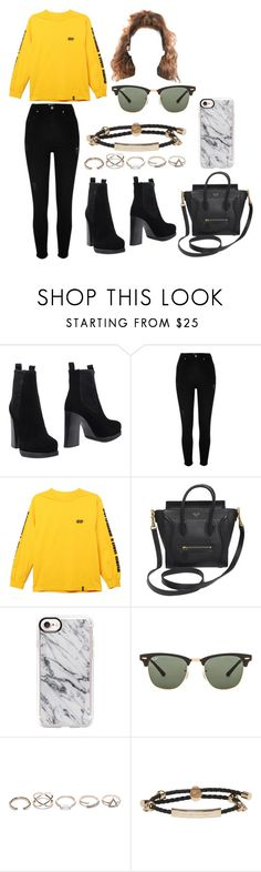 """Untitled #5003"" by pauladtello ❤ liked on Polyvore featuring Acne Studios, River Island, HUF, CÉLINE, Casetify, Ray-Ban, GUESS and Alexander McQueen"