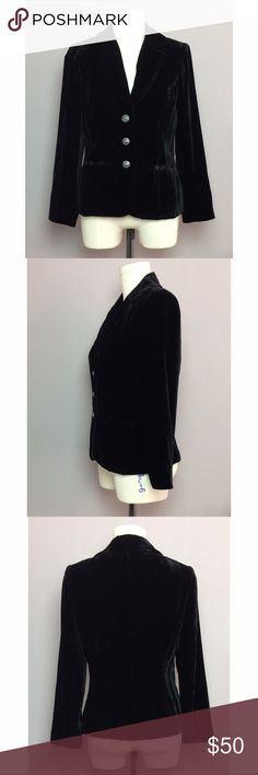 Tesori Black Velvet Blazer In excellent condition, lined, 3 buttons, 2 front pockets, small shoulder pads  Shell 82% Rayon, 18% Silk Lining 100% Acetate  Size 4 Laying Flat: Bust 17 in Length 23 in Bicep 6 in Shoulder Width 16 in Tesori Jackets & Coats Blazers