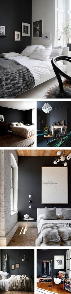 I feel like the ubiquitous all-white interior is always on trend but I see  a black wall somewhere in my near future. Perhaps I'm afraid of the dark  or I just can't commit. I know it's no new thing, but I've been thinking  about a black wall for years. The question is, will it be in the bedroom  or the bathroom? Below are some of my favourites. Do you have a fave? Or  better yet, have you gone to the dark side? - Amy    Sources:  1. via Ollie and Seb's Haus  2. via DesignSponge…