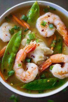 Shrimp Wonton Soup, loaded with fresh vegetables and homemade dumplings. | Apple of my Eye
