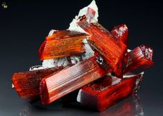 Realgar - well-formed crystals with an intense red color and orange nuances from No. 5 Mine, Baia Sprie (Felsobanya) Maramures Co,. Romania