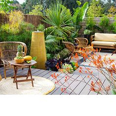 For travel: No-chores backyard  Easy-care plants and materials create a low-maintenance garden that can fend for itself for weeks at a stretch. See how durable furnishings, bulletproof plants, no-fuss flooring, and clever details make it work.