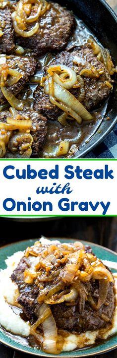 Cubed Steak with Onion Gravy #southernfood #steak #dinner