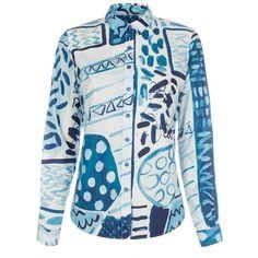 Paul Smith Women's Shirts | Blue Painted Patchwork Cotton Shirt
