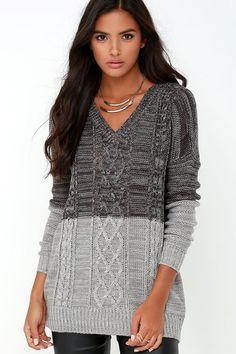 Jack by BB Dakota Jory Grey Color Block Sweater at Lulus.com!