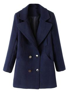 Casual Long Sleeve Lapel Double Breasted Woolen Coat