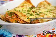 ...Pomysłowe i pyszne śniadania!: Naleśniki z farszem ryżowym bolognese