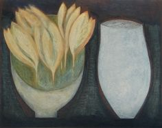 Yellow Crocus with Blue Jar by Vivienne Williams