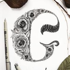 """Hand lettered """"G"""". These are also made up flowers so I don't have a name for them yet."""