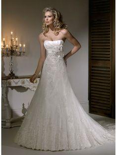 A-ligne sans bretelles de mariage robe en dentelle organza satin