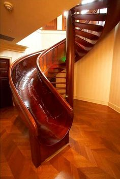 beautiful curved wood staircase SLIDE, #fun #design
