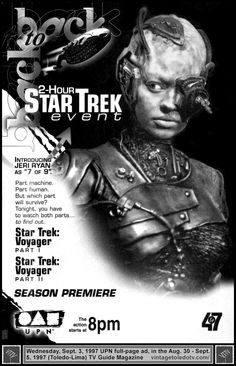 """Vintage Toledo TV - UPN - Star Trek: Voyager """"Scorpion"""" parts 1 & 2 (Wed 9/3/97 full-page TV Guide ad) Jeri Ryan as 7 of 9 in a rerun of the season three finale (part one) and the season four premiere (part two)."""